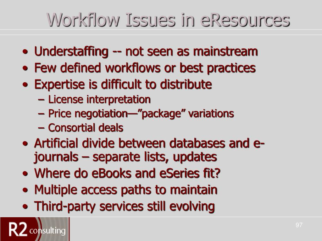 Workflow Issues in eResources