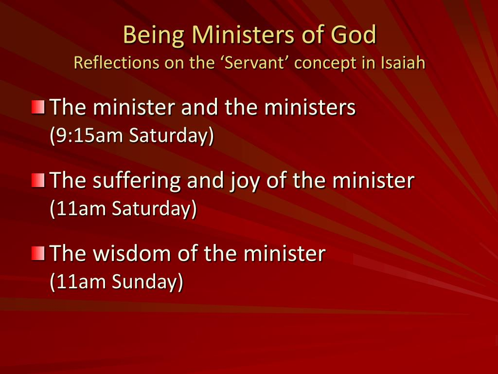 being ministers of god reflections on the servant concept in isaiah l.