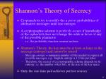 shannon s theory of secrecy