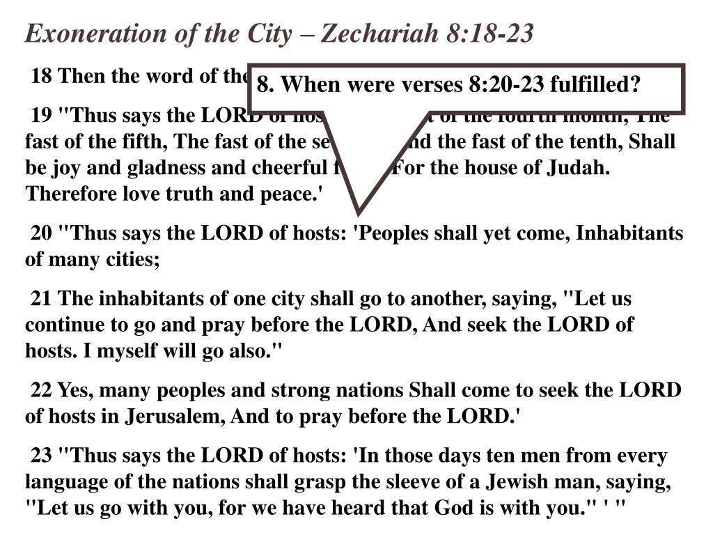 Exoneration of the City – Zechariah 8:18-23