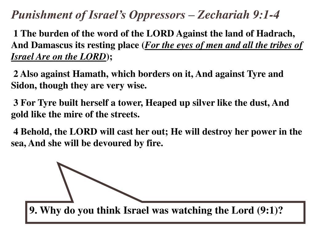 Punishment of Israel's Oppressors – Zechariah 9:1-4