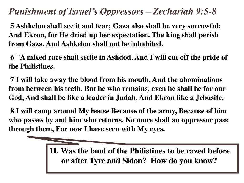 Punishment of Israel's Oppressors – Zechariah 9:5-8