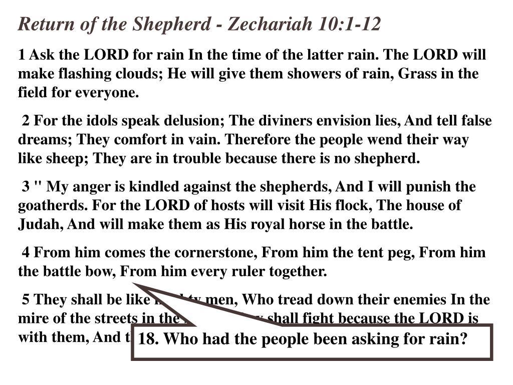 Return of the Shepherd - Zechariah 10:1-12
