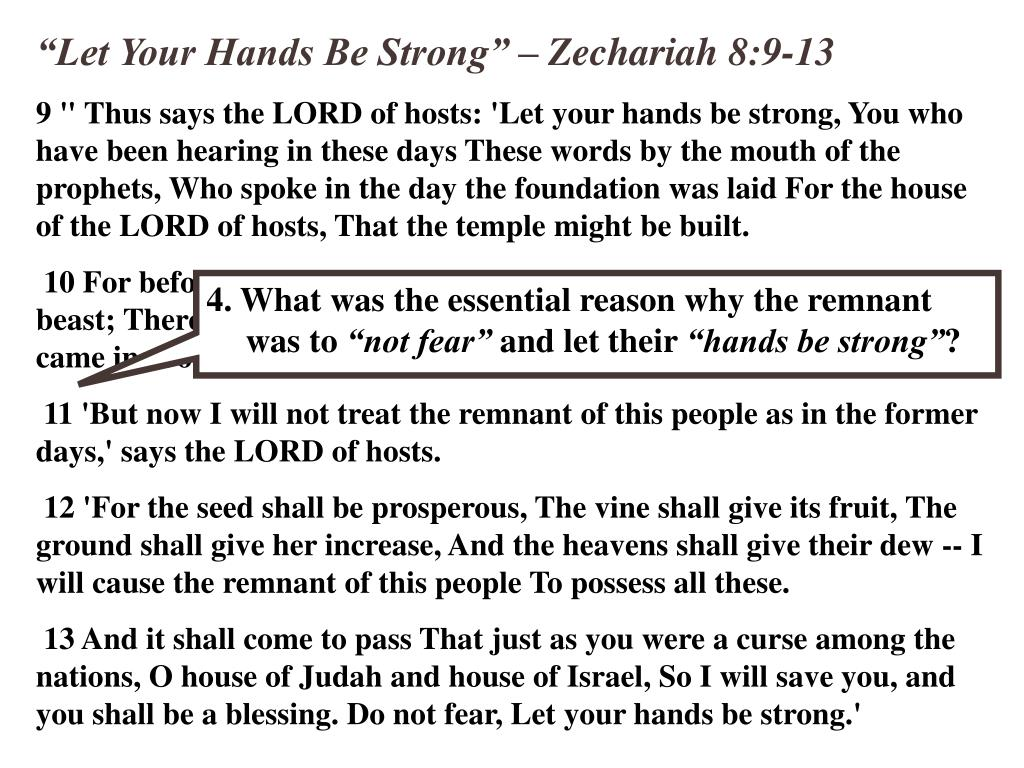 """""""Let Your Hands Be Strong"""" – Zechariah 8:9-13"""
