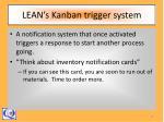 lean s kanban trigger system