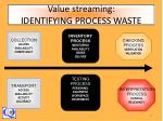 value streaming identifying process waste
