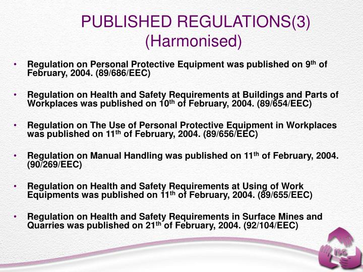 PUBLISHED REGULATIONS(3) (Harmonised)