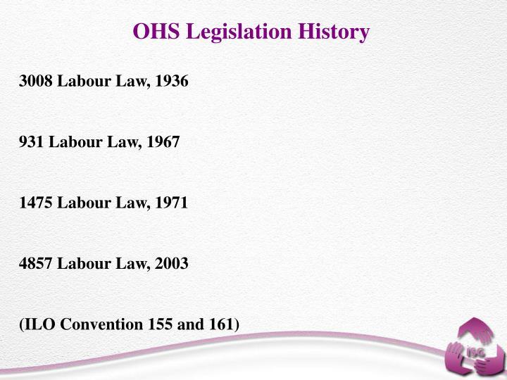 OHS Legislation History