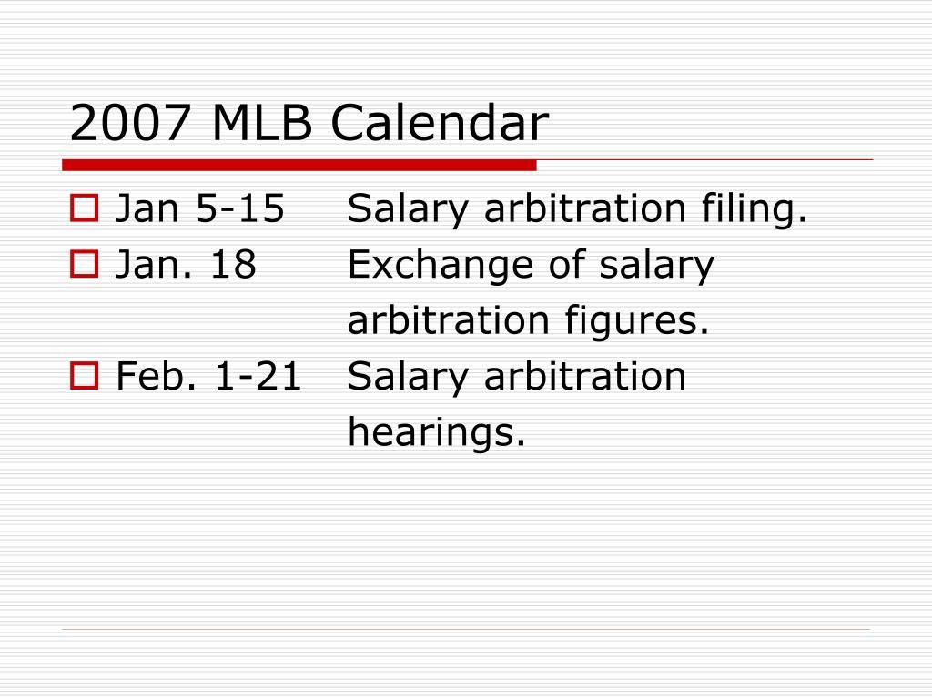 2007 MLB Calendar