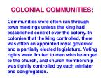 colonial communities