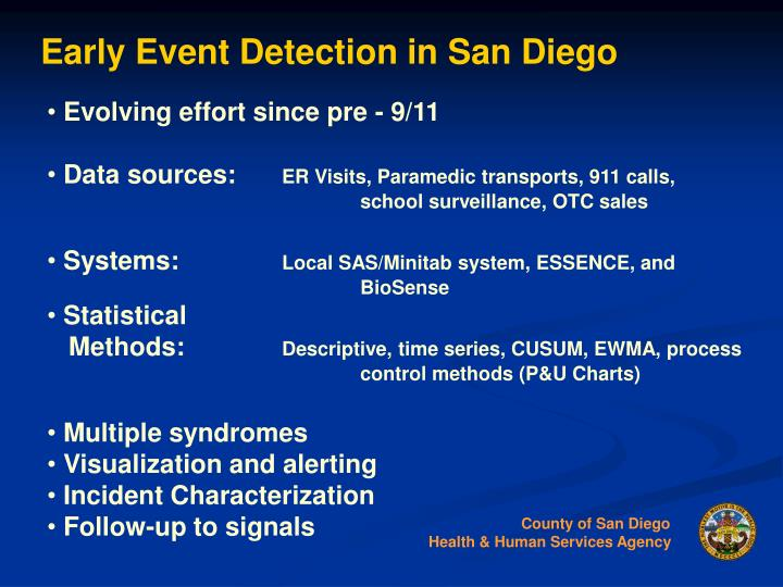 Early Event Detection in San Diego