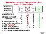redundant array of inexpensive disks raid 3 parity disk