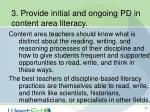 3 provide initial and ongoing pd in content area literacy