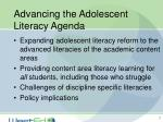 advancing the adolescent literacy agenda