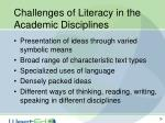 challenges of literacy in the academic disciplines