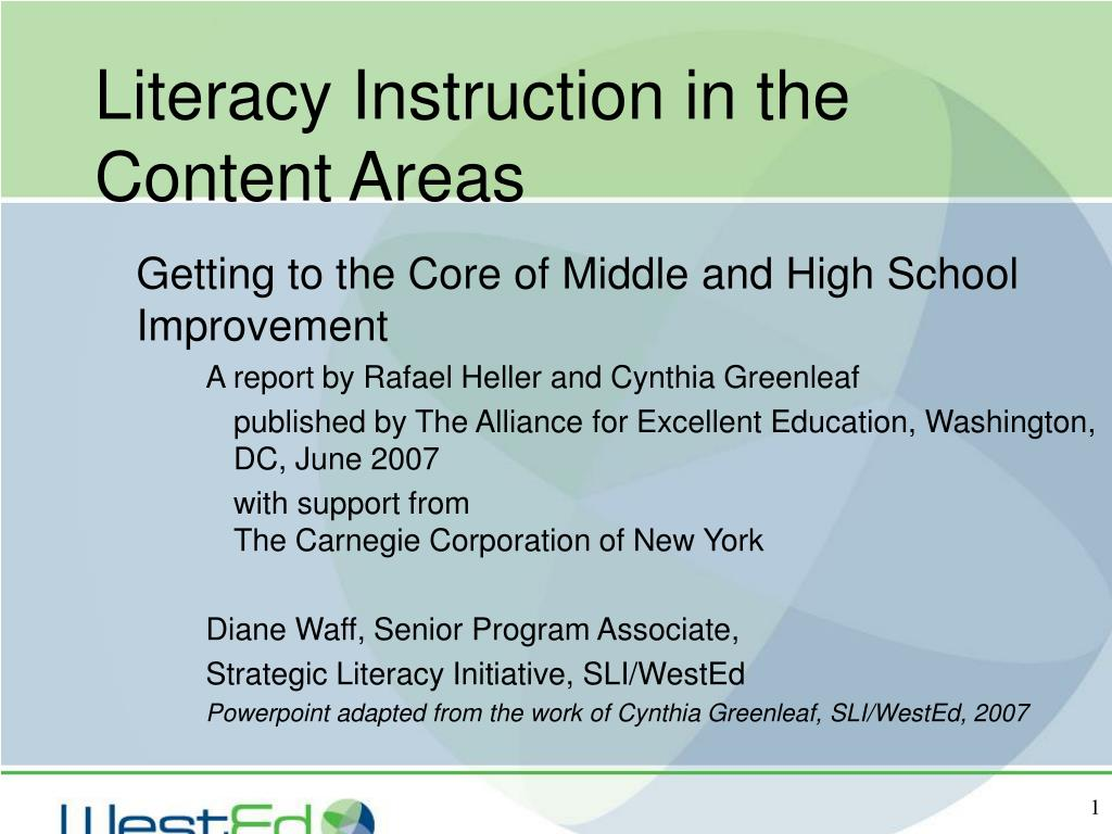 literacy instruction in the content areas l.