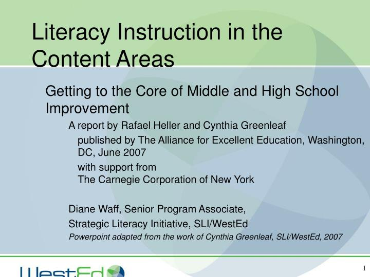 literacy instruction in the content areas n.