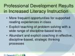 professional development results in increased literacy instruction