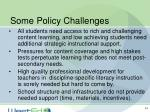 some policy challenges