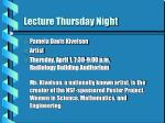 lecture thursday night