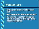 web page fonts