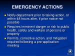 emergency actions