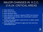 major changes in k c c 21a 24 critical areas
