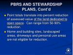 pbrs and stewardship plans cont d