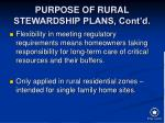 purpose of rural stewardship plans cont d