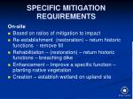 specific mitigation requirements