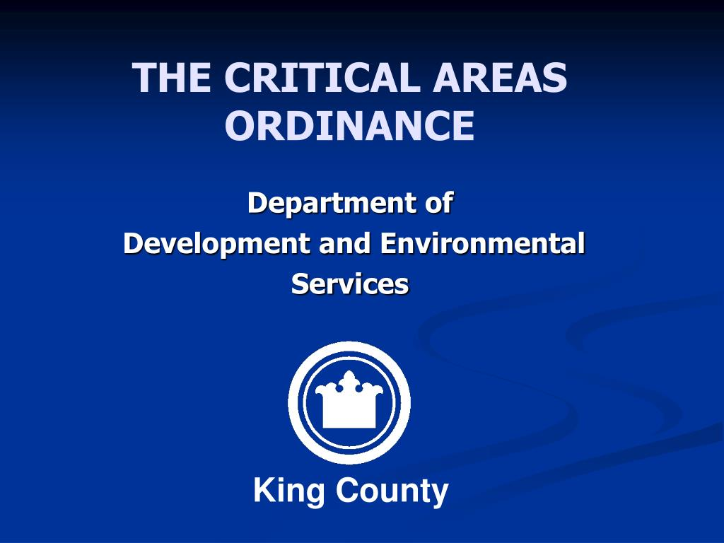 the critical areas ordinance l.