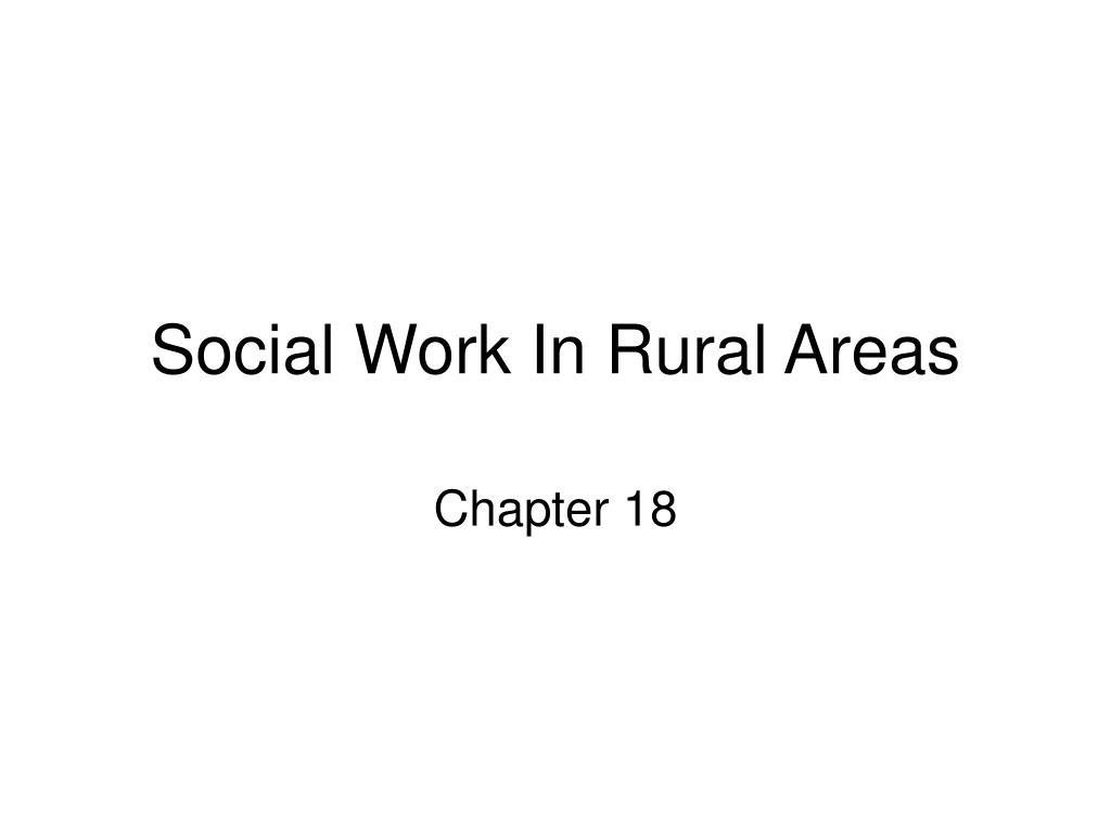 Social Work In Rural Areas