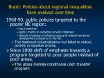 brazil policies about regional inequalities have evolved over time