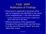 f428 mrr notification of findings
