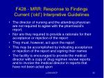 f428 mrr response to findings current old interpretive guidelines