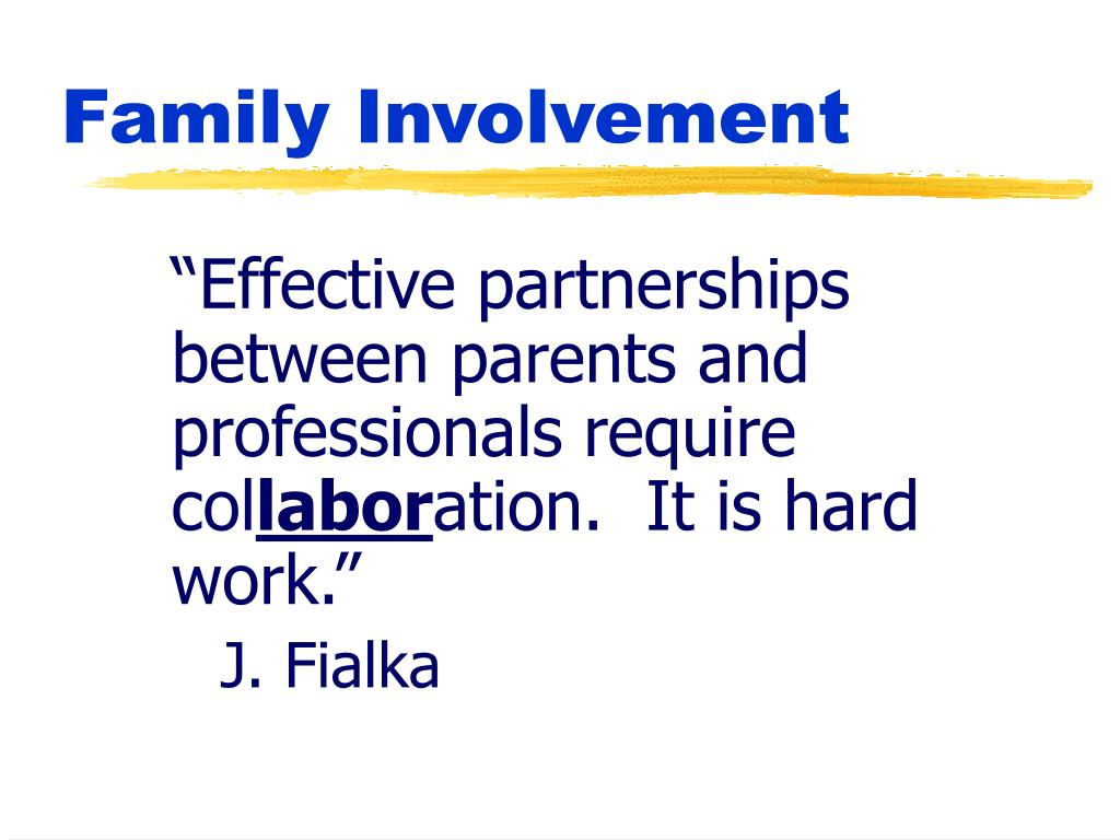 """""""Effective partnerships between parents and professionals require col"""