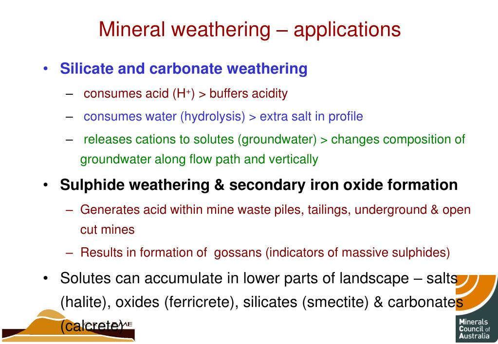 Mineral weathering – applications