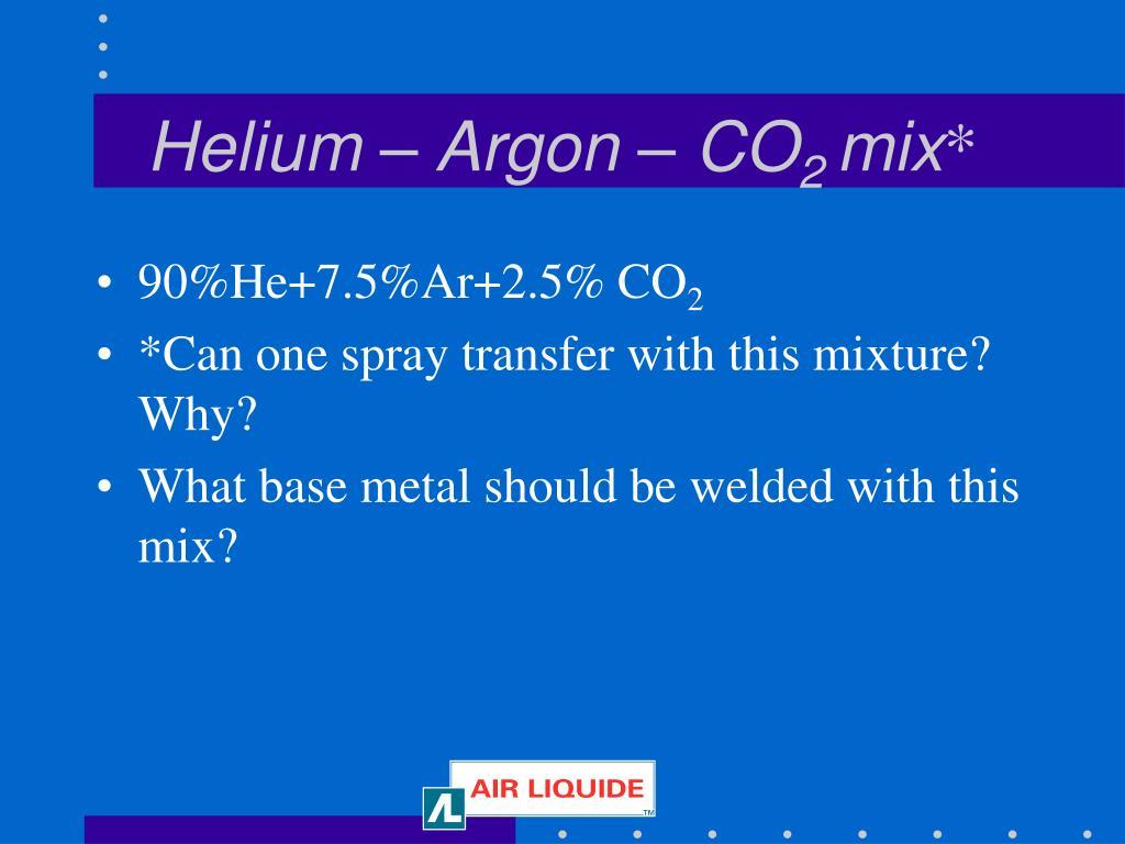 Helium – Argon – CO