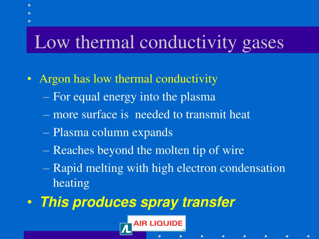 Low thermal conductivity gases