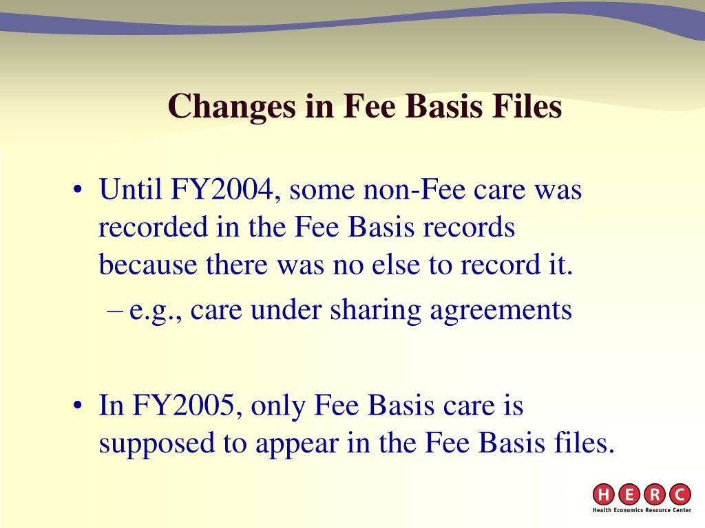 Changes in Fee Basis Files