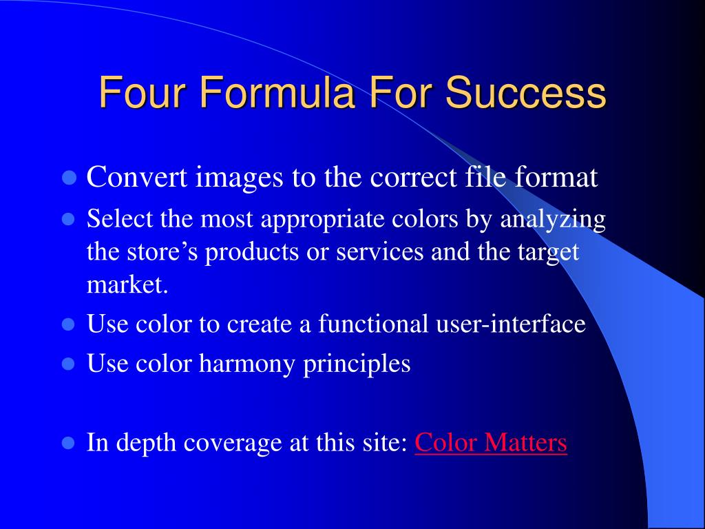 Four Formula For Success
