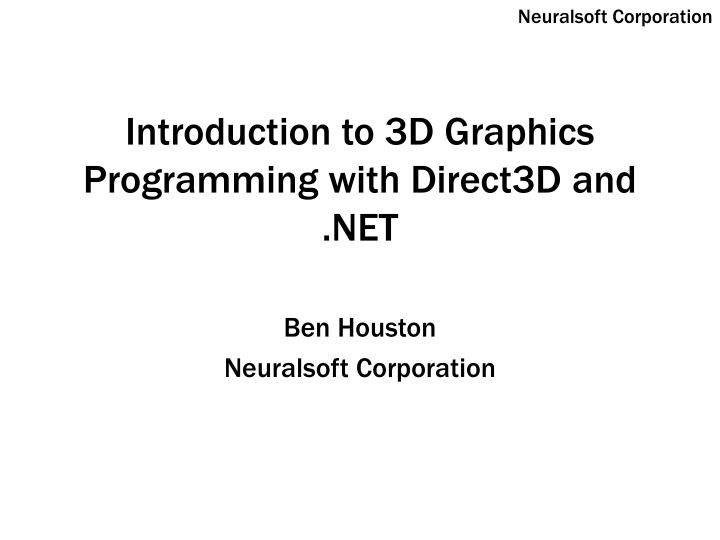 introduction to 3d graphics programming with direct3d and net n.
