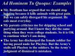 ad hominem tu quoque examples