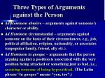 three types of arguments against the person