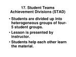 17 student teams achievement divisions stad