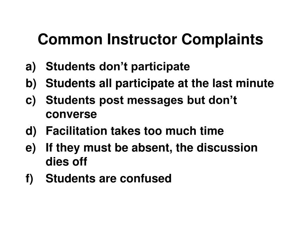 Common Instructor Complaints