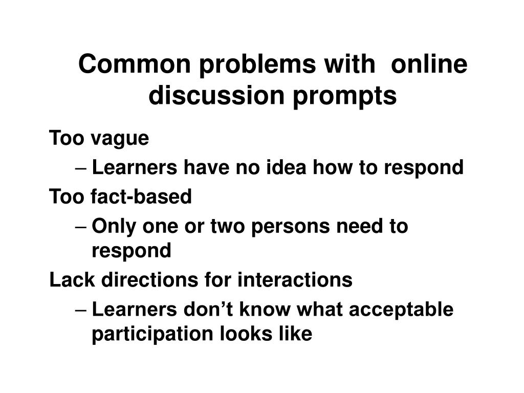 Common problems with  online discussion prompts