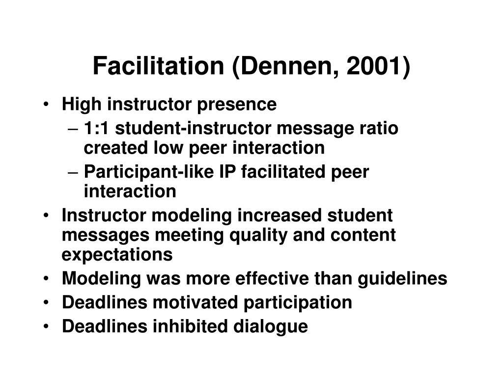 Facilitation (Dennen, 2001)