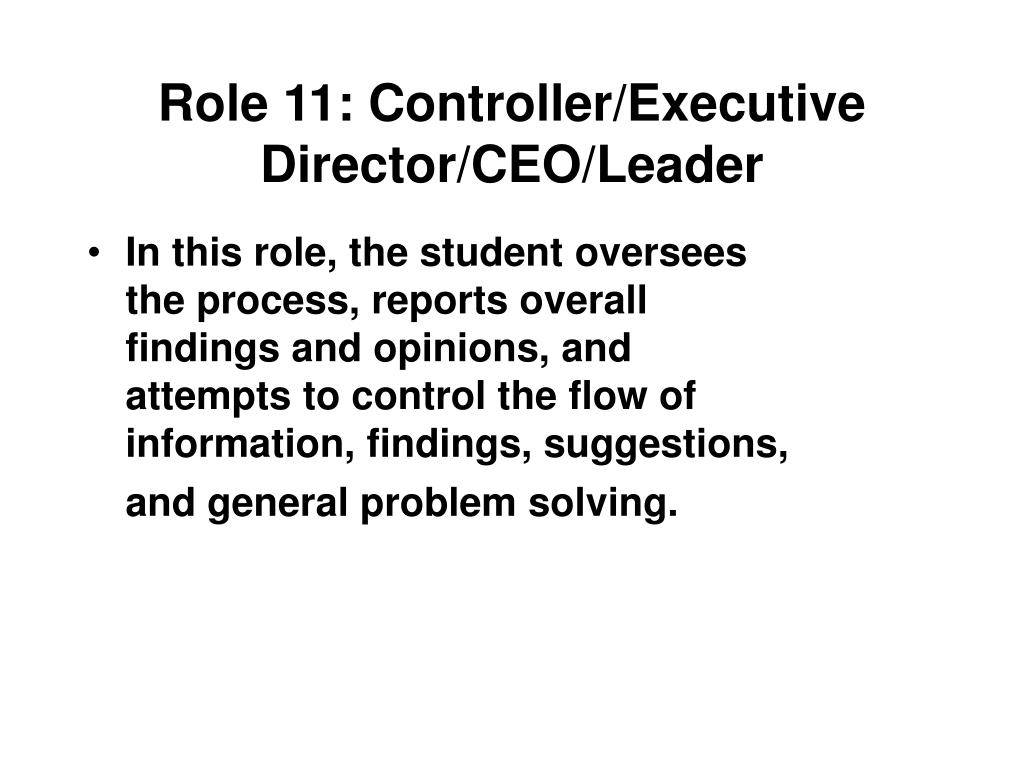 Role 11: Controller/Executive Director/CEO/Leader
