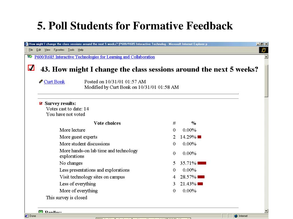 5. Poll Students for Formative Feedback
